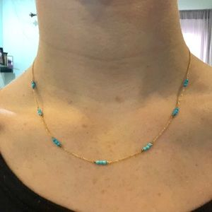 Jewelry - (New) 14K gold and turquoise colored bead chain